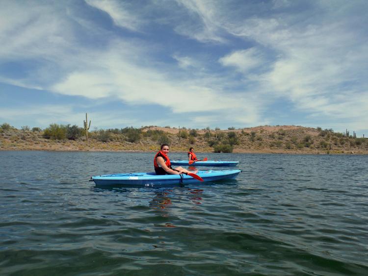 An image of two people kayaking at Lake Pleasant Regional Park