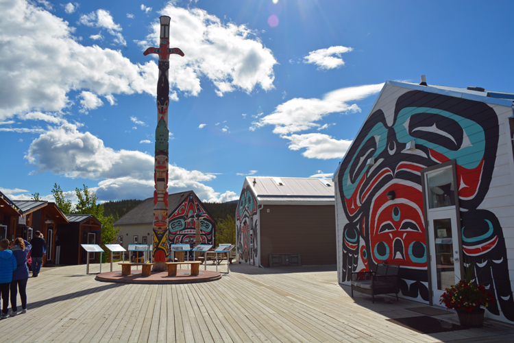 An image of a totem pole in Carcross, Yukon.
