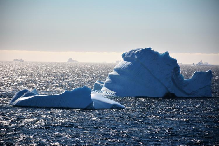 Image of an iceberg that looks like the Sidney Opera House - iceberg pareidolia test