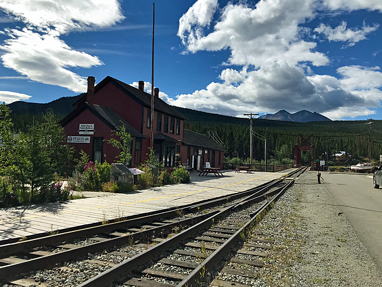 An image of the Carcross train station in Carcross, Yukon