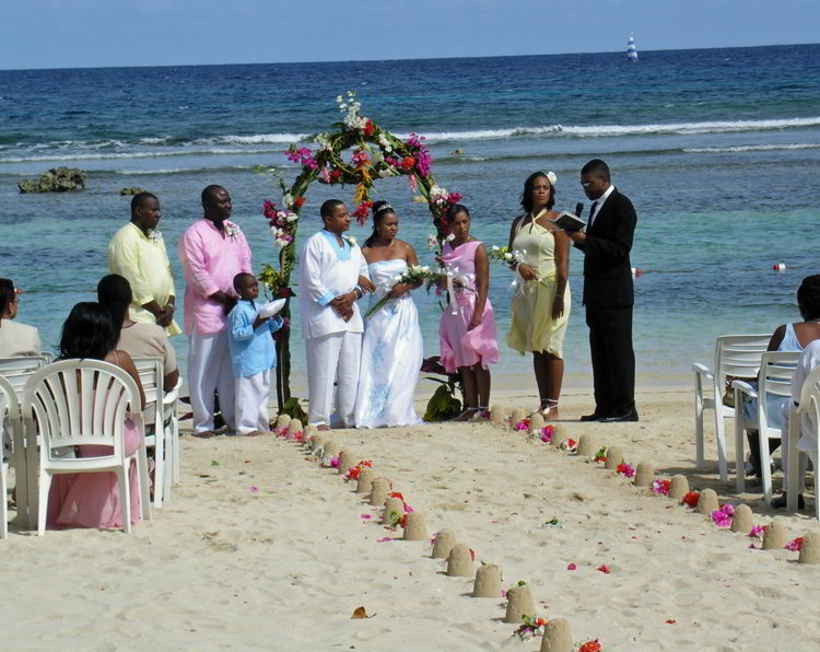 An image of a wedding on a beach in Jamaica