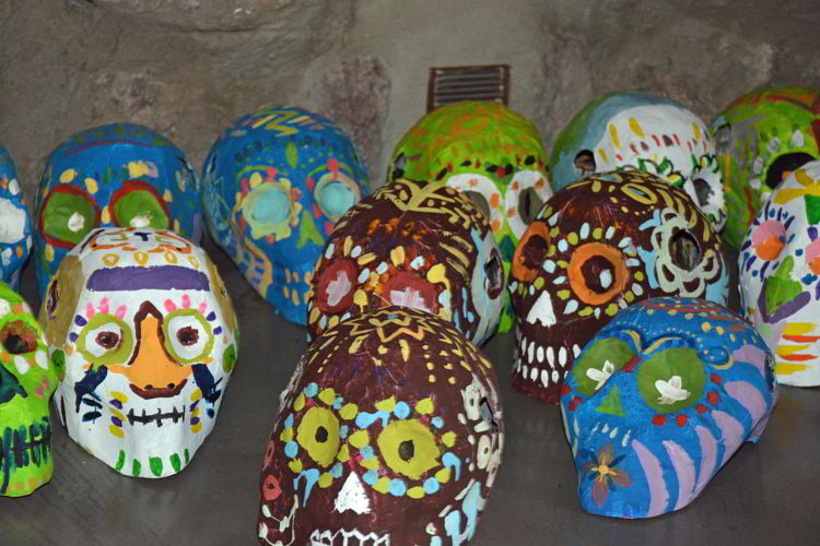 An image of colorful painted clay skulls - Day of the Dead Festival - Dia de los Muertos