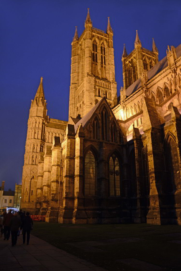 An image of Lincoln Cathedral after dark in Lincolnshire, England - Lincoln Christmas Market