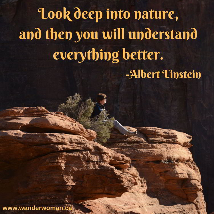 An image of a woman taking in the view at Canyon Overlook in Zion National Park - Utah, USA. Meaningful quotes about nature - Look deep into nature - Albert Einstein