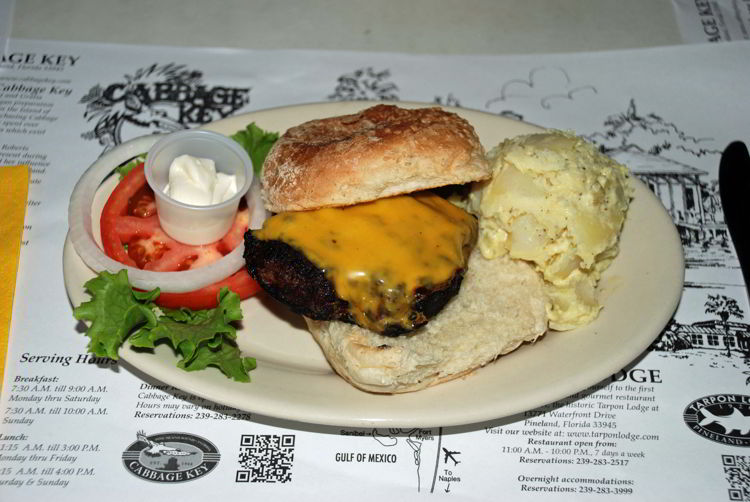 An image of the cheeseburger plate at Cabbage Key Inn and Restaurant in Cabbage Key, Florida - Cabbage Key cheeseburger in paradise