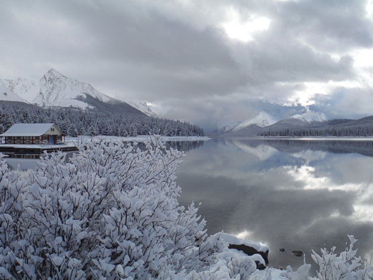 Image of a snowy frosty morning at Maligne Lake in Jasper National Park - Avoid the Winter Blues.