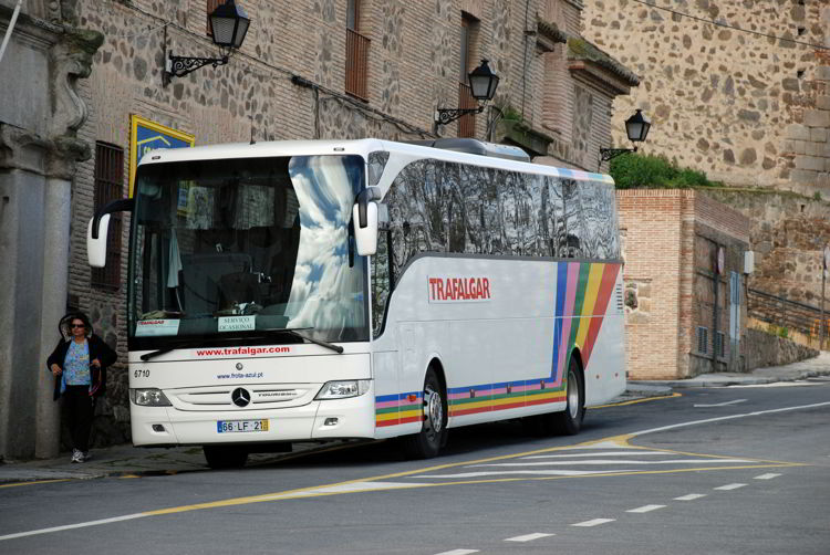 An image of a Trafalgar motorcoach in Toledo, Spain - Trafalgar Tours Europe