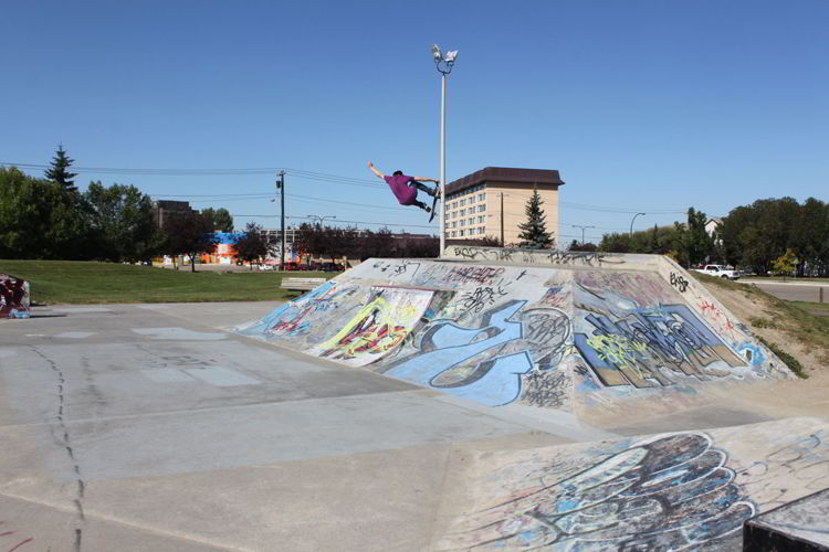 An image of the skateboard park in Red Deer, Alberta, Canada.