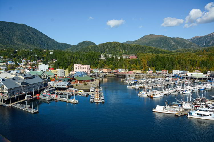 An image of the Ketchikan harbor on a sunny day - Things to do in Ketchikan