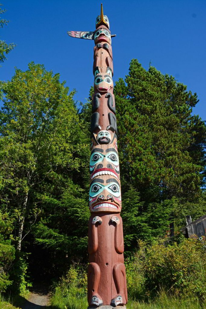An image of a totem pole in Saxman Native Village near Ketchikan, Alaska - Things to do in Ketchikan