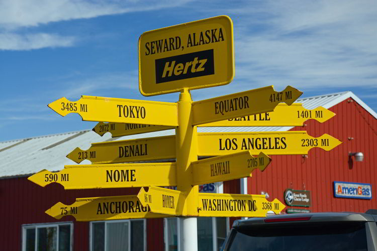 An image of a sign post in Seward, Alaska USA