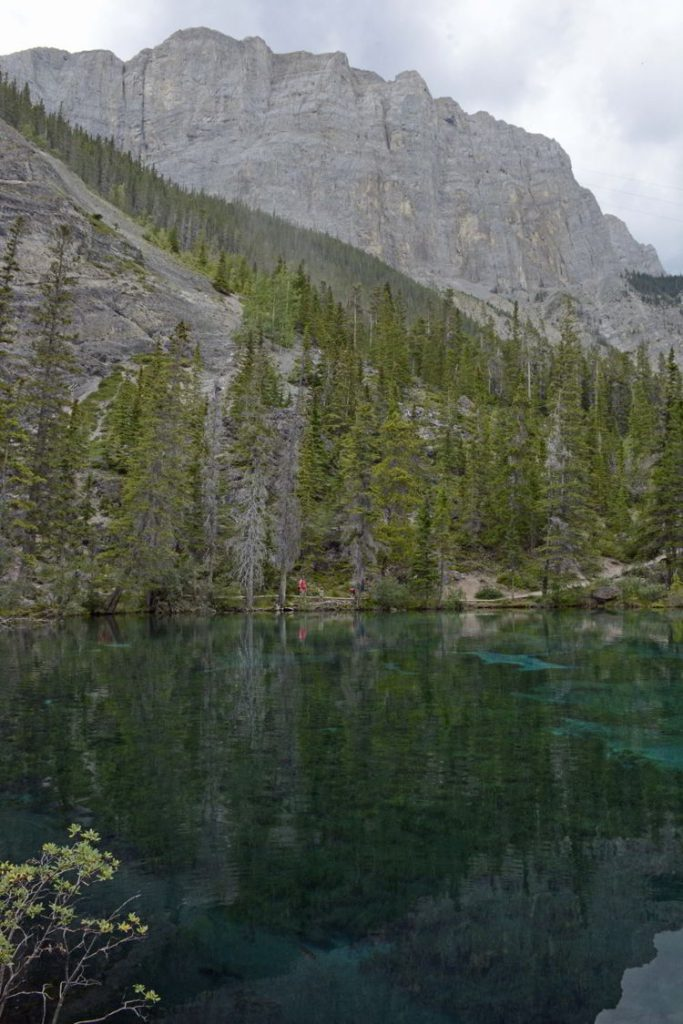 An image of the lovely blue-green Grassi Lakes - one of the best hikes near Canmore, Alberta.