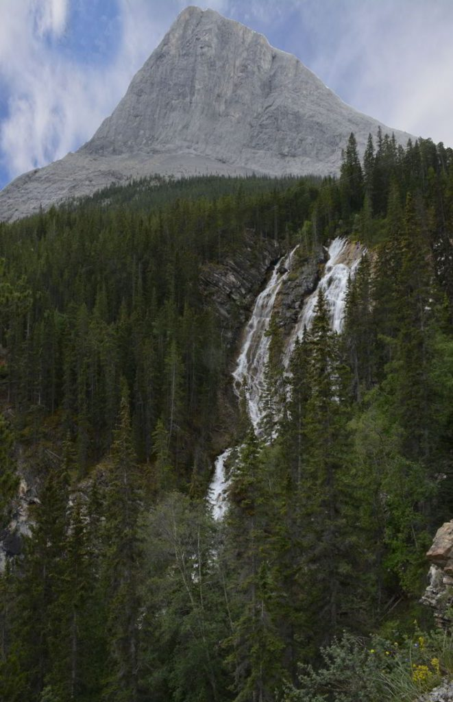 An image of the waterfall on the Grassi Lakes hike near Canmore, Alberta.