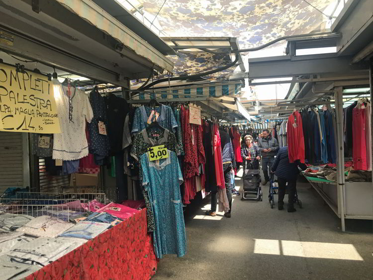 An image of the clothes market in Livorno, Italy.