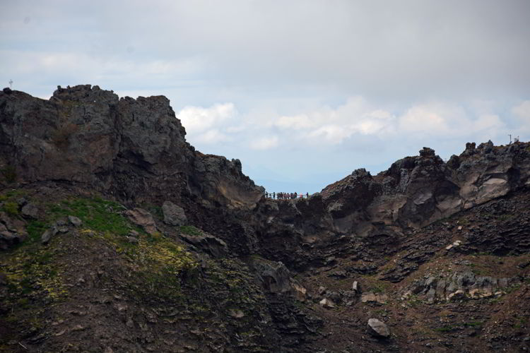 An image of the trail and the crater on Mount Vesuvius near Naples, Italy.- Hiking Mt Vesuvius