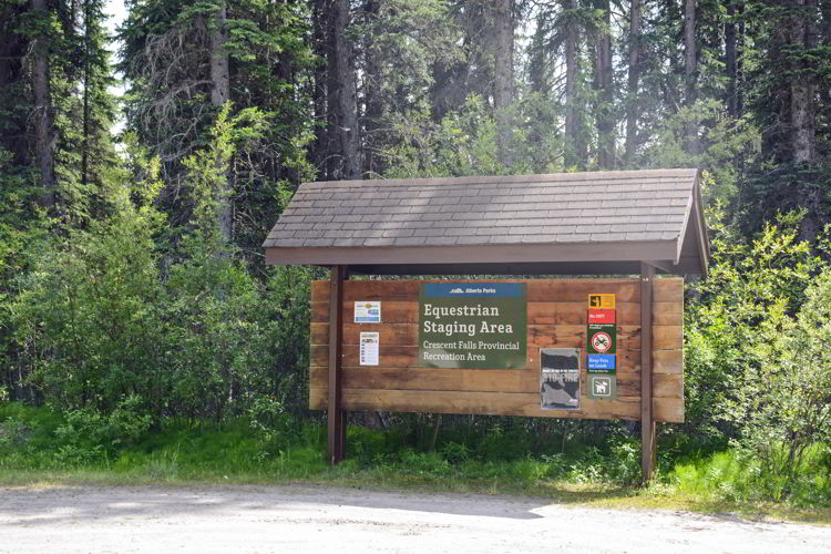 An image of the equestrian day use area sign at Crescent Falls in David Thompson Country, Alberta.