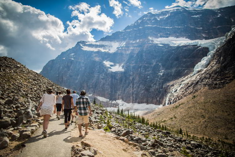 An image of a group of hikers on the Mt. Edith Cavell Trail in Jasper National Park, Alberta - Jasper hikes