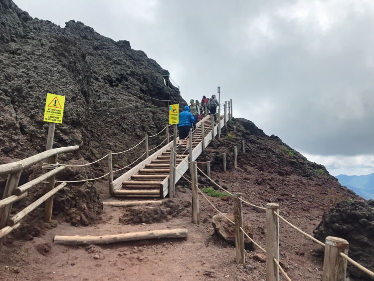 An image of the steps on the trail in Mount Vesuvius National Park near Naples, Italy - Hiking Mt Vesuvius