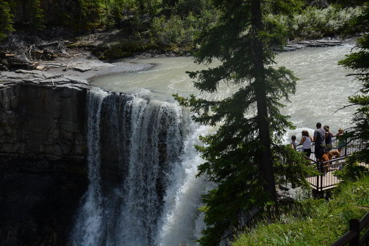 An image of the Crescent Falls Overlook in Alberta's Bighorn Country - Crescent Falls hike.