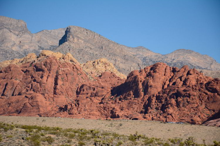 An image of Turtle Head Mountain and the Calico Hills in Red Rock Canyon near Las Vegas, Nevada.