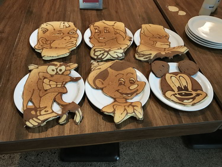 An image of pancake art at the Slappy Cakes Restaurant in Maui.