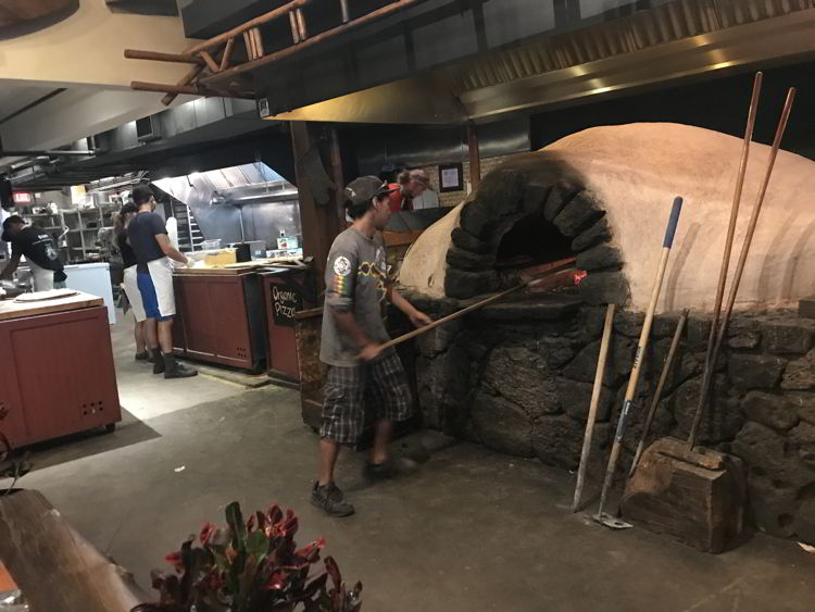 An image of the pizza oven at Flatbread Company restaurant in Paia, Maui.
