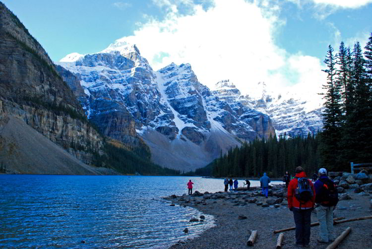 An image of Moraine Lake in Banff National Park in autumn.