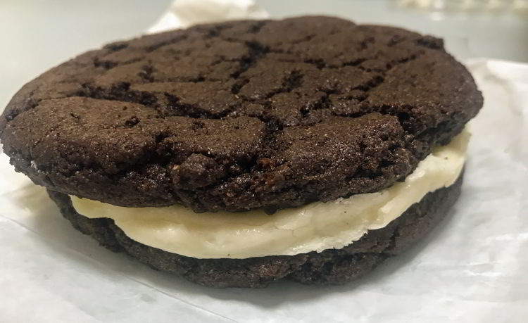 An image of a homemade Oreo cookie from Mocha Cabana Bistro in Lethbridge, Alberta.