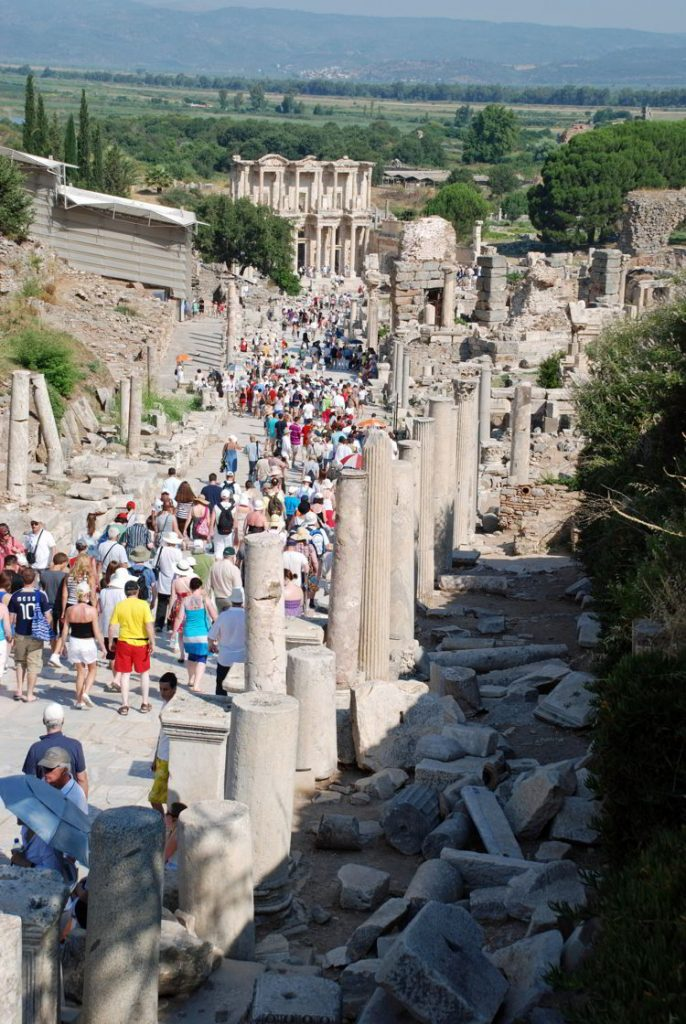 An image of the ruins of Ephesus and the crowds of people - Ephesus tour.