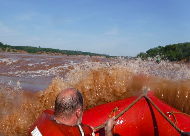 An image of the river rapids when tidal bore rafting on the Schubenacadie River in Nova Scotia.