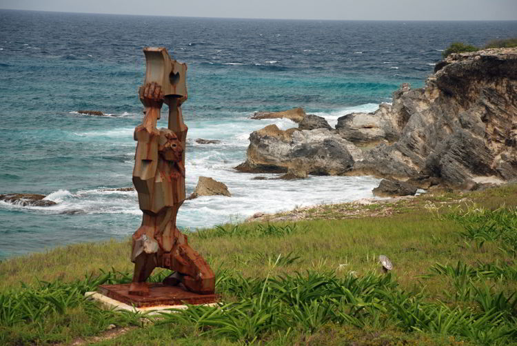 An image of the sculpture garden on Isla Mujeras, Mexico - Riviera Maya excursions