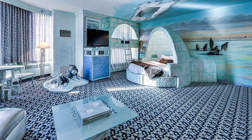 An image of the igloo theme room at the Fantasyland hotel in Edmonton, Alberta - Quirky accommodation