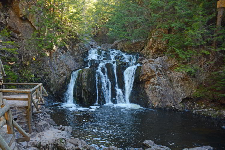 An image of a waterfall in Victoria Park in Truro, Nova Scotia.