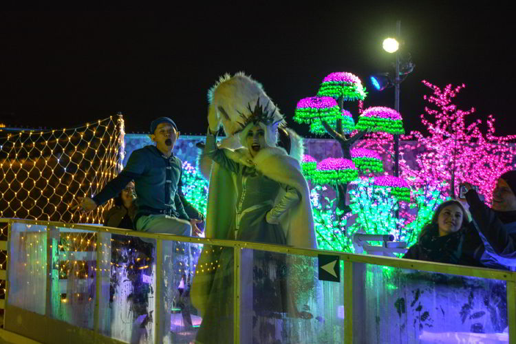 An image of characters at the Aurora Winter Festival in Vancouver, BC, Canada.