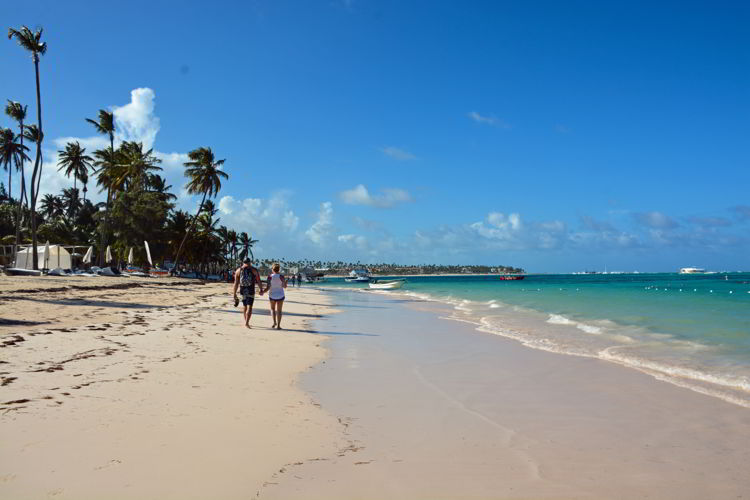 An image of Bavaro Beach in front of the Lopesan Costa Bavaro Resort in Punta Cana, Dominican Republic.