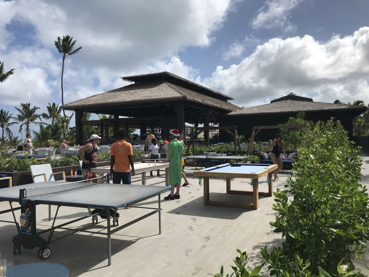 An image of the outdoor gaming are with ping pong and pool at the Lopesan Costa Bavaro in Punta Cana, Dominican Republic.