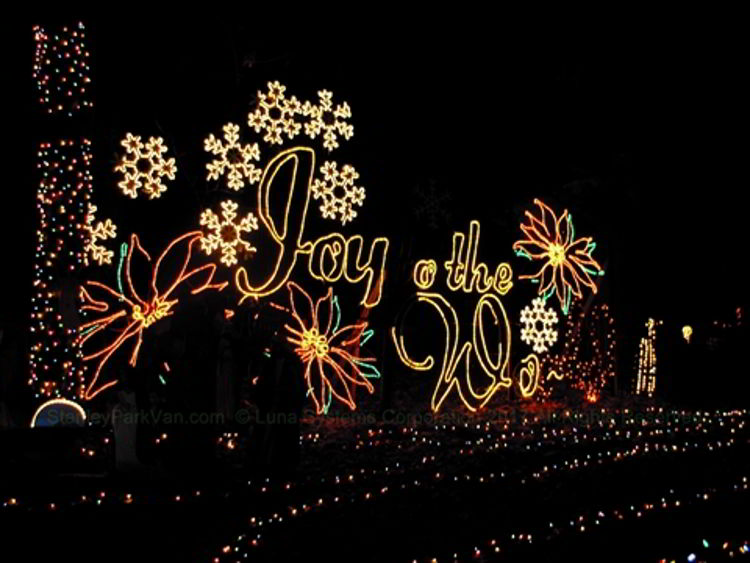 An image of a light display at Stanley Park in Vancouver during the Bright Nights Festival in Vancouver, BC, Canada.