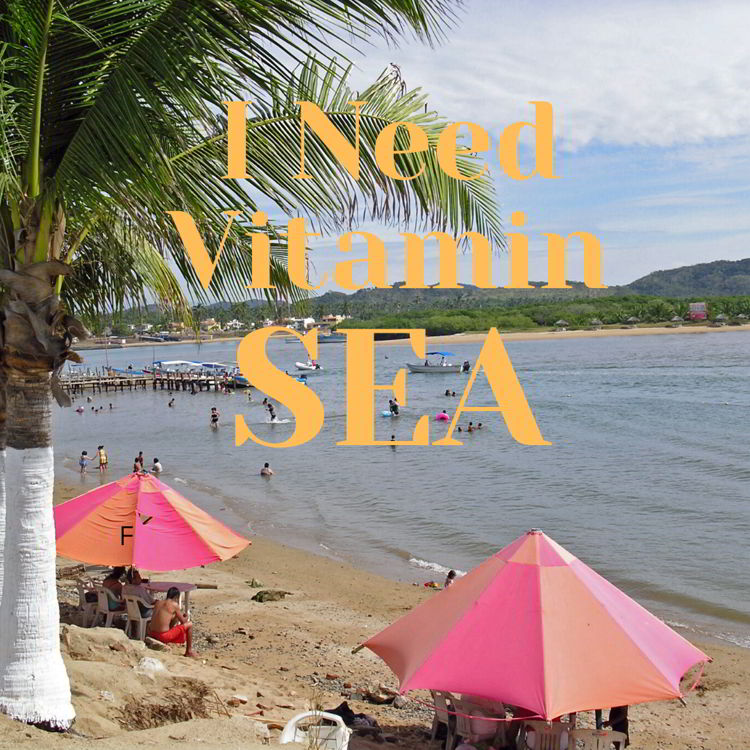 "An image of a beach scene with the quote - ""I need vitamin sea"""