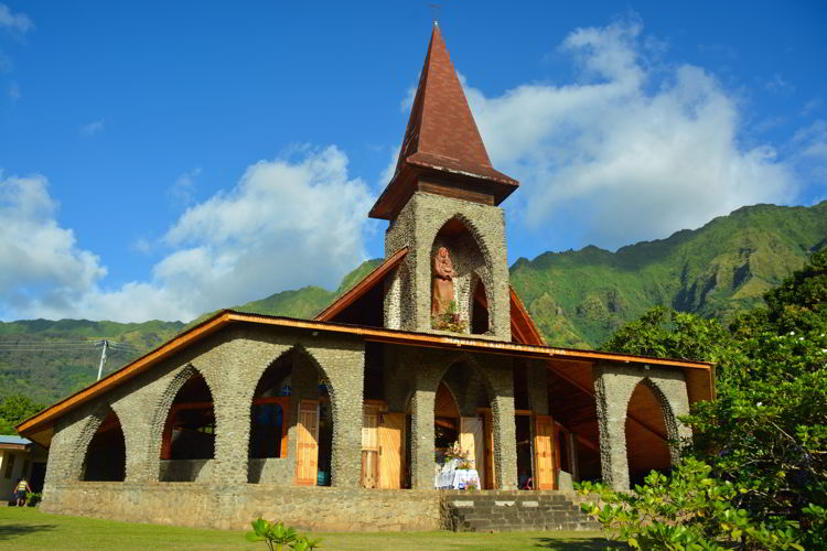 An image of the Catholic church on Tahuata Island in the Marquesas Islands of French Polynesia - as seen on an Aranui 5 cruise.