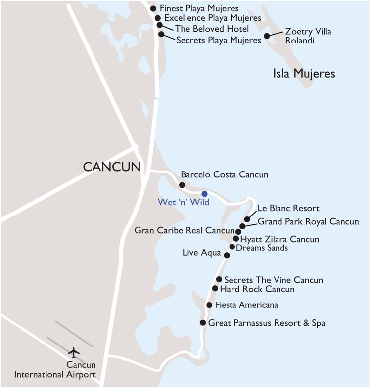 An image of a map of Cancun and Costa Mujeres Mexico.