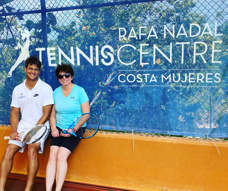 An image of two people at the Rafa Nadal Tennis Academy in Costa Mujeres, Mexico.