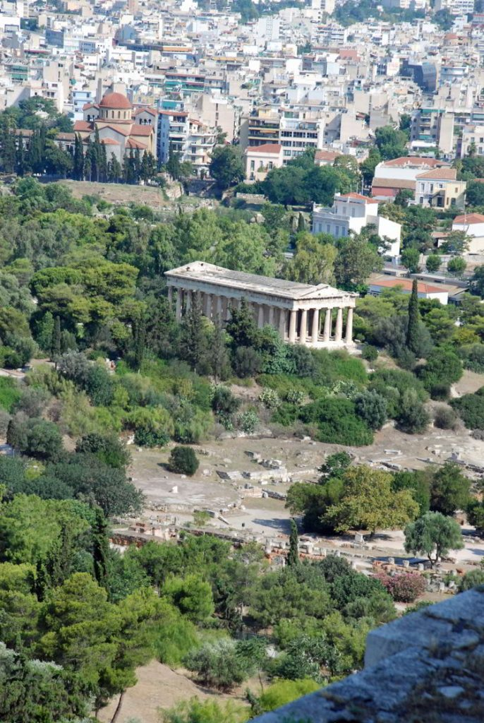 An image of ancient Agora as seen from the Acropolis in Athens, Greece.