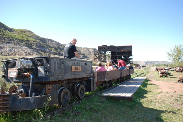 An image of the Atlas Coal mine train ride in Drumheller, Alberta - things to do in Drumheller.