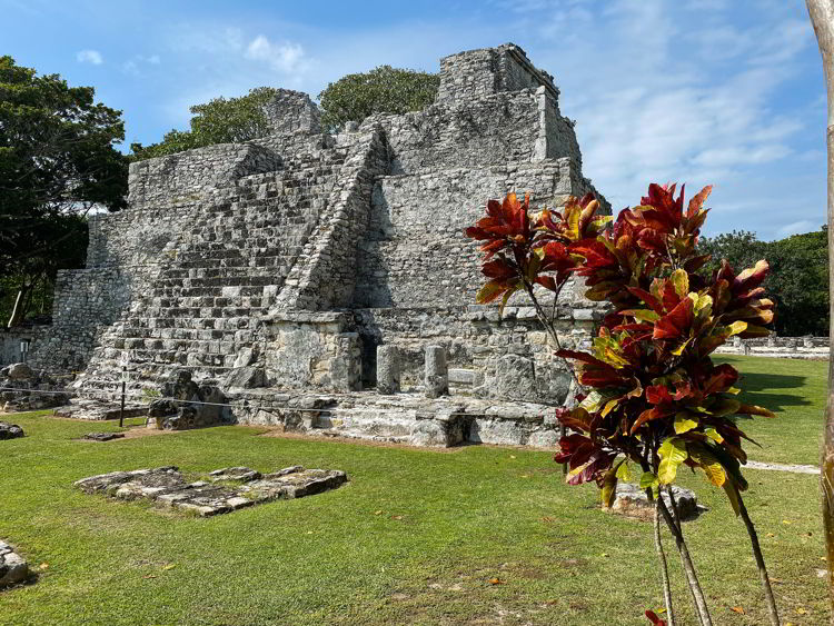 An image of El Castillo at the El Meco Archaeological site in Cancun, Mexico.
