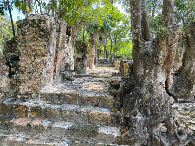 An image of some steps at the El Meco archaeological site in Cancun, Mexico.