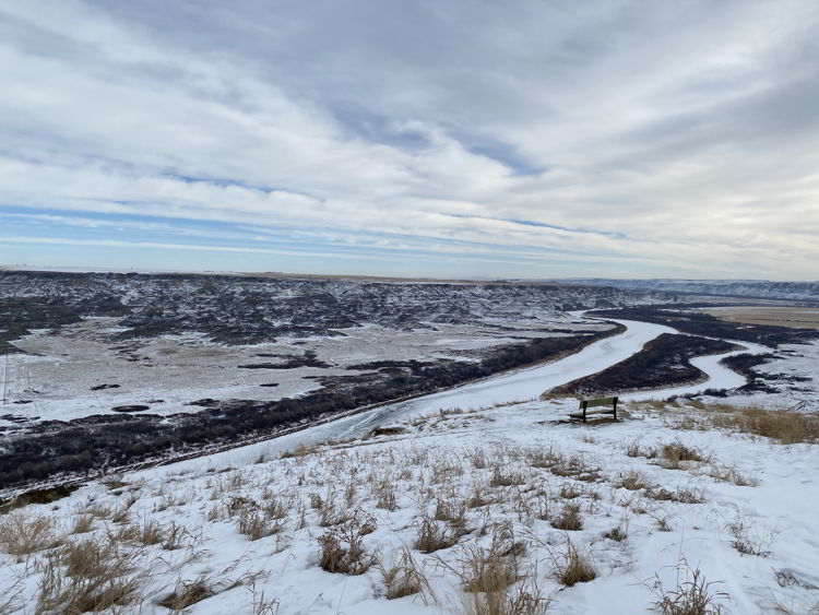 An image of the Orkney Viewpoint in winter -things to do in Drumheller, Alberta.