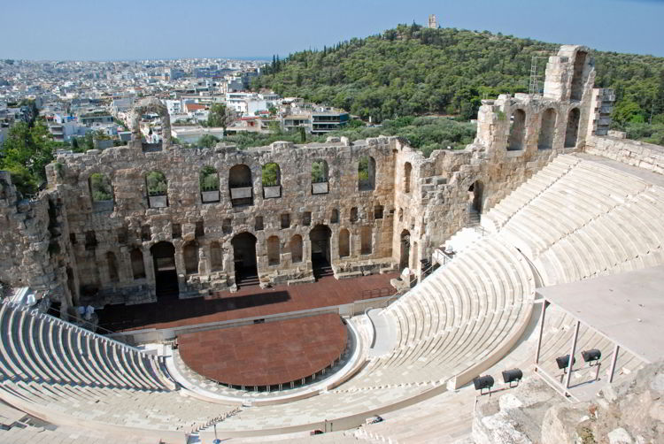 An image of the Theatre of Herodes Atticus at the Acropolis in Athens, Greece - Acropolis virtual tour.