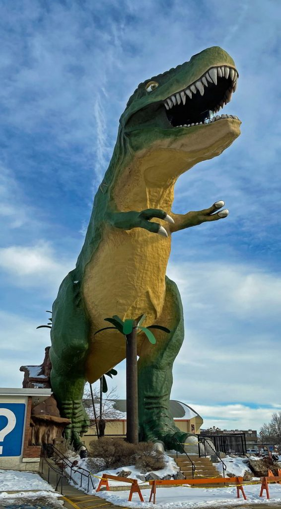 An image of the world's largest dinosaur in Drumheller, Alberta during the winter.