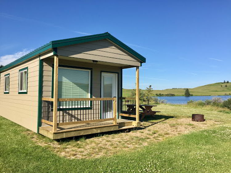 An image of a cabin at Cypress Hills Provincial Park - glamping in Alberta.