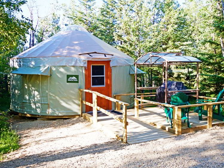 An image of the comfort camping yurts at Miquelon Lake Provincial Park - Glamping in Alberta.